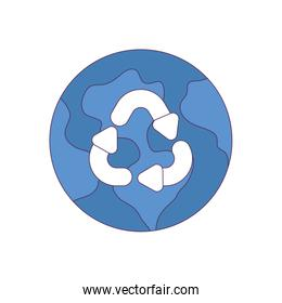 Isolated recycle sign and world vector design