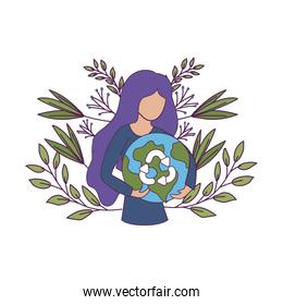 Isolated recycle sign woman avatar and world vector illustration