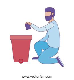 Isolated recycle trash and avatar man vector design