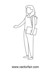 Isolated avatar woman with laptop and bag line icon