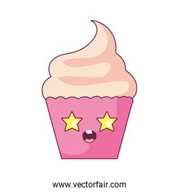 Kawaii cupcake cartoon vector design