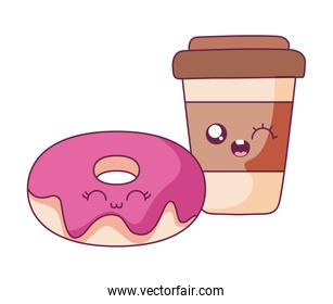 Donut and coffee mug cartoon vector design