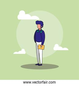 Avatar man and clouds vector design