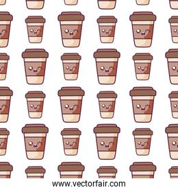 coffee mugs kawaii cartoons background vector design