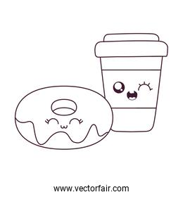 Kawaii coffee mug and donut cartoon vector design