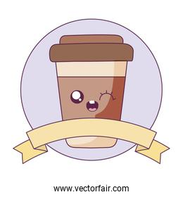 Kawaii coffee mug cartoon with ribbon vector design