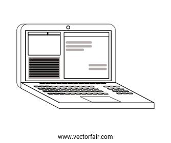 Isolated laptop with website vector design