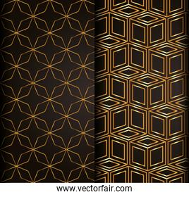 Pattern gold design over black rectangles background