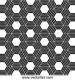 Black and white hexagon background vector design