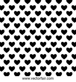 Black and white hearts background vector illustration