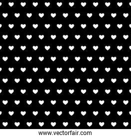 Black and white hearts background vector design
