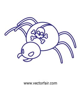Spider bug with skull of security system vector design