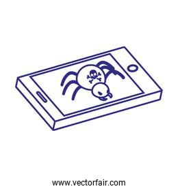 Smartphone and spider of security system vector design