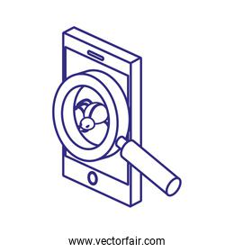 Smartphone and lupe of security system vector design