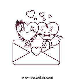 Isolated female and male hearts cartoons couple vector design