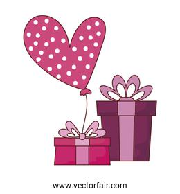 Isolated gifts with heart balloon vector design