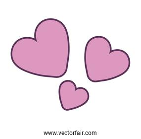 Isolated pink hearts vector illustration