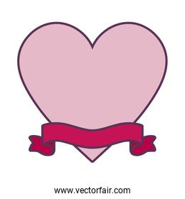 Isolated heart with ribbon vector design