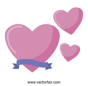Isolated hearts with ribbon vector design