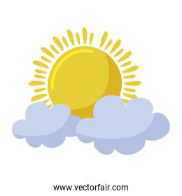 Isolated summer sun and clouds vector design