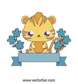 Kawaii tiger cartoon with flowers and ribbon over white