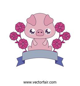 Kawaii pig with flowers and ribbon vector design
