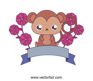 Kawaii monkey cartoon with flowers and ribbon vector design