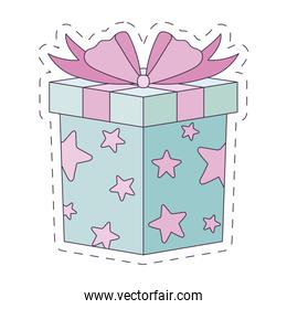 Isolated gift with bowtie vector design