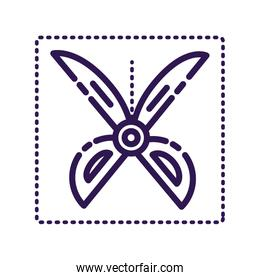 scissor cutting coupon commercial line style icon