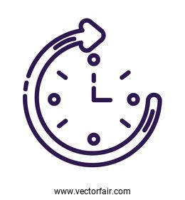 time clock with arrow around line style icon