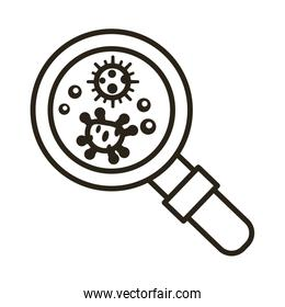 bacteria culture with magnifying glass line style icon