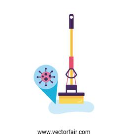 floor mop clean with covid particle detaild style