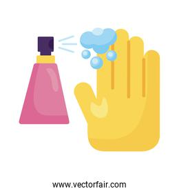 hand using disinfectant spray bottle product detaild style