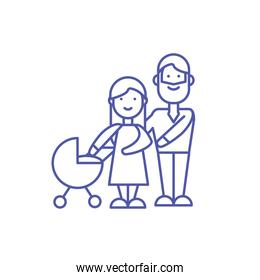 Mother father and baby vector design
