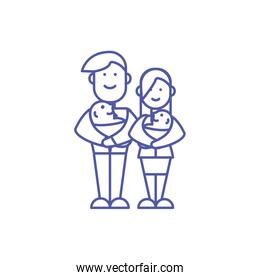 Mother father and babies vector design