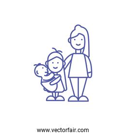 Isolated mother baby and daughter vector design