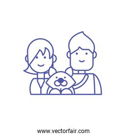 Couple of woman and man and dog vector design