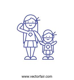 Isolated mother and daughter with costume vector design