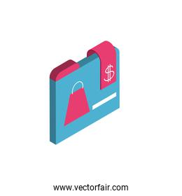 Isolated shopping bag and website vector design