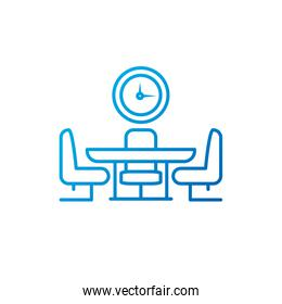 Isolated meeting table and clock vector design