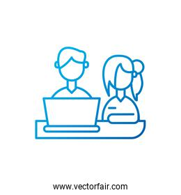 Isolated woman and man meeting with laptop vector design
