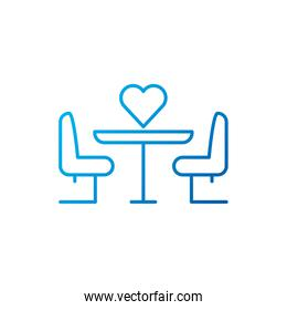 Isolated heart and meeting table vector design