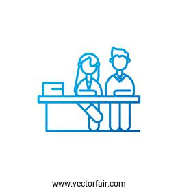 Isolated woman and man meeting with table vector design