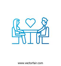 Isolated heart and woman man meeting vector design