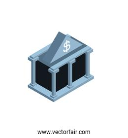 Isolated money bank building vector design