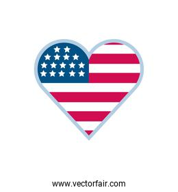 Isolated usa flag heart vector design