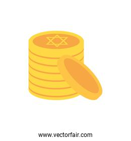 Isolated jewish coins vector design