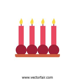 Isolated jewish candles vector design