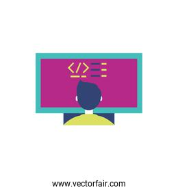 Isolated website code and boy vector illustration