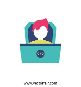 Isolated website code and boy vector design